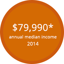 Chart displaying annual median income for biostatistics during 2014: $79,990