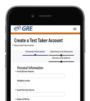 A screenshot of ETS GRE Create a Test Taker Account page