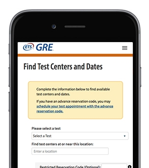 A screenshot of the ETS GRE Find Test Centers and Dates page
